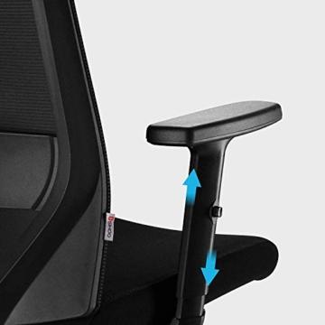 Bürostuhl Drehstuhl Computerstuhl hat Verstellbare PU Kopfstützen und Armlehnen, Ergonomischer Schreibtischstuhl mit Höhenverstellbar und Wippenfunktion, rückenschonend, Schwarz - 8