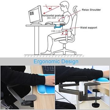 E-More Computer Arm-Stütze, verstellbar, für Handgelenk, ergonomisch, Aluminium-Legierung, am Schreibtisch, für professionelle Computer-Arbeiten, Grau - 2
