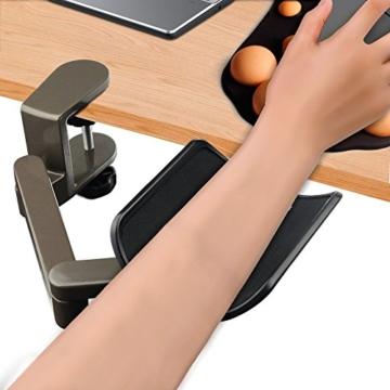 E-More Computer Arm-Stütze, verstellbar, für Handgelenk, ergonomisch, Aluminium-Legierung, am Schreibtisch, für professionelle Computer-Arbeiten, Grau - 3
