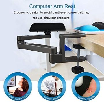 E-More Computer Arm-Stütze, verstellbar, für Handgelenk, ergonomisch, Aluminium-Legierung, am Schreibtisch, für professionelle Computer-Arbeiten, Grau - 4