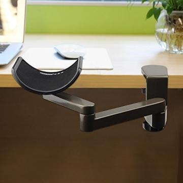E-More Computer Arm-Stütze, verstellbar, für Handgelenk, ergonomisch, Aluminium-Legierung, am Schreibtisch, für professionelle Computer-Arbeiten, Grau - 6