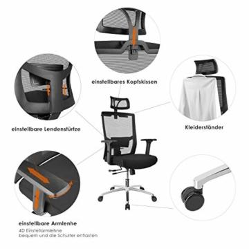 FIXKIT Bürostuhl, Ergonomisch Schreibtischstuhl, Mesh Computerstuhl mit Einstellbare Kopfstütze Armlehnen, Höhenverstellung und Wippfunktion, Tragkraft bis 150kg (Schwarz) - 2