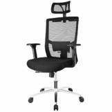 FIXKIT Bürostuhl, Ergonomisch Schreibtischstuhl, Mesh Computerstuhl mit Einstellbare Kopfstütze Armlehnen, Höhenverstellung und Wippfunktion, Tragkraft bis 150kg (Schwarz) - 1