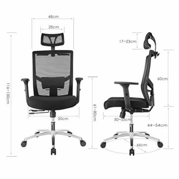 FIXKIT Bürostuhl, Ergonomisch Schreibtischstuhl, Mesh Computerstuhl mit Einstellbare Kopfstütze Armlehnen, Höhenverstellung und Wippfunktion, Tragkraft bis 150kg (Schwarz) - 3