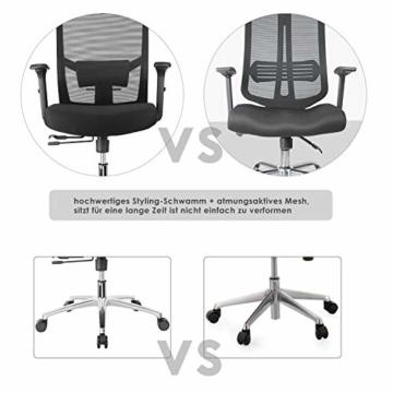 FIXKIT Bürostuhl, Ergonomisch Schreibtischstuhl, Mesh Computerstuhl mit Einstellbare Kopfstütze Armlehnen, Höhenverstellung und Wippfunktion, Tragkraft bis 150kg (Schwarz) - 6