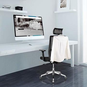 FIXKIT Bürostuhl, Ergonomisch Schreibtischstuhl, Mesh Computerstuhl mit Einstellbare Kopfstütze Armlehnen, Höhenverstellung und Wippfunktion, Tragkraft bis 150kg (Schwarz) - 7