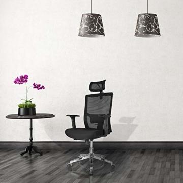 FIXKIT Bürostuhl, Ergonomisch Schreibtischstuhl, Mesh Computerstuhl mit Einstellbare Kopfstütze Armlehnen, Höhenverstellung und Wippfunktion, Tragkraft bis 150kg (Schwarz) - 8