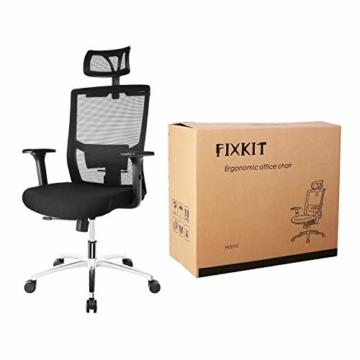 FIXKIT Bürostuhl, Ergonomisch Schreibtischstuhl, Mesh Computerstuhl mit Einstellbare Kopfstütze Armlehnen, Höhenverstellung und Wippfunktion, Tragkraft bis 150kg (Schwarz) - 9