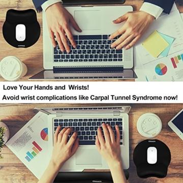 Gimars Handgelenkauflage für Tastatur und Maus Handballenauflage mit Memory-Schaum ergonomisch zur Entlastung des Handgelenks Schwarzes Pad-Set - 7