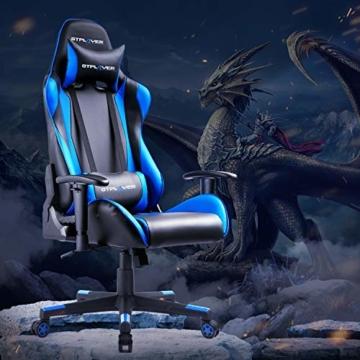 GTPLAYER Gaming Stuhl Bürostuhl Gamer Ergonomischer Stuhl Einstellbare Armlehne Einteiliger Stahlrahmen Einstellbarer Neigungswinkel Blau - 2