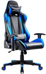 GTPLAYER Gaming Stuhl Bürostuhl Gamer Ergonomischer Stuhl Einstellbare Armlehne Einteiliger Stahlrahmen Einstellbarer Neigungswinkel Blau - 1