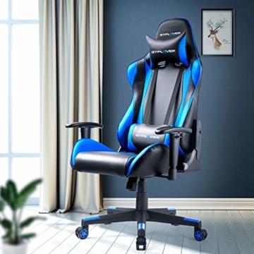 GTPLAYER Gaming Stuhl Bürostuhl Gamer Ergonomischer Stuhl Einstellbare Armlehne Einteiliger Stahlrahmen Einstellbarer Neigungswinkel Blau - 7