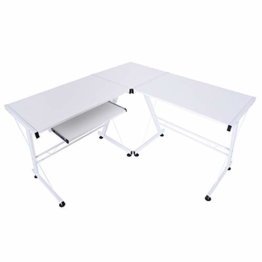 HOMCOM Computertisch Schreibtisch Arbeitsstation flexibel MDF Stahl Weiß 210 x 50 x 73,5 cm - 1