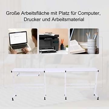 HOMCOM Computertisch Schreibtisch Arbeitsstation flexibel MDF Stahl Weiß 210 x 50 x 73,5 cm - 4