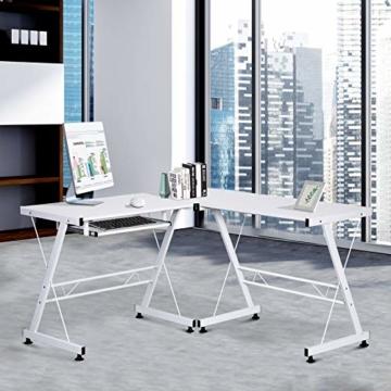 HOMCOM Computertisch Schreibtisch Arbeitsstation flexibel MDF Stahl Weiß 210 x 50 x 73,5 cm - 6