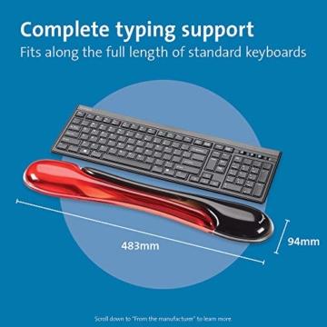 Kensington ergonomische Handgelenkauflage für Tastatur, bequeme Duo-Gel-Handgelenkstütze, geeignet für ganze Gaming-Tastaturen für Komfort am Computer, Laptop, Büro, PC, Zuhause, rot/schwarz, 62402 - 3