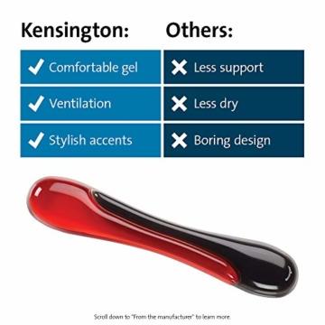 Kensington ergonomische Handgelenkauflage für Tastatur, bequeme Duo-Gel-Handgelenkstütze, geeignet für ganze Gaming-Tastaturen für Komfort am Computer, Laptop, Büro, PC, Zuhause, rot/schwarz, 62402 - 7