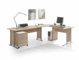 moebel-eins Office Line Winkelkombination Schreibtisch Ecktisch Tisch Bürotisch in Eiche Sonoma Dekor - 1