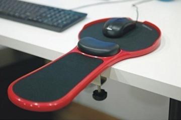Premium Einstellbare Computer-Handgelenk-Rest-Armlehne - Schreibtisch und Stuhl doppelten Zweck Aufsteckbarer Haus und Bürocomputer Armauflage - Ergonomische Mausunterlage Arm-Standplatz für Ausflüge Extender (rot) - 1