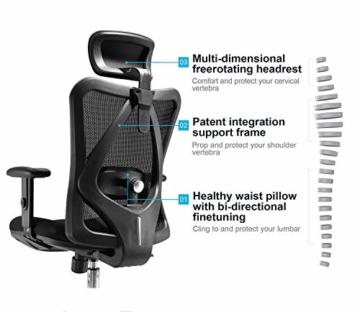 SIHOO Ergonomischer Schreibtischstuhl, Drehstuhl hat Verstellbarer Lordosenstütze, Kopfstütze und Armlehne, Höhenverstellung und Wippfunktion, Rückenschonend, Bürostuhl bis 150kg/330LB Belastbar - 3