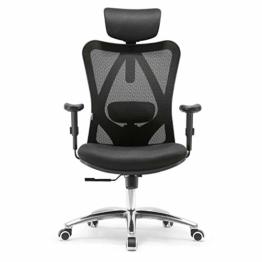 SIHOO Ergonomischer Schreibtischstuhl, Drehstuhl hat Verstellbarer Lordosenstütze, Kopfstütze und Armlehne, Höhenverstellung und Wippfunktion, Rückenschonend, Bürostuhl bis 150kg/330LB Belastbar - 1