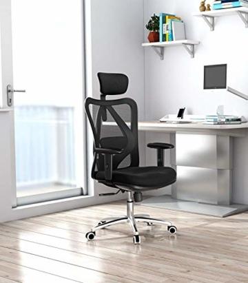 SIHOO Ergonomischer Schreibtischstuhl, Drehstuhl hat Verstellbarer Lordosenstütze, Kopfstütze und Armlehne, Höhenverstellung und Wippfunktion, Rückenschonend, Bürostuhl bis 150kg/330LB Belastbar - 5