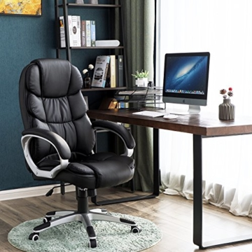 SONGMICS Bürostuhl Chefsessel Drehstuhl Computerstuhl SGS EN12520 Sitzhöhenverstellung office Stuhl Polsterung, OBG24B - 2