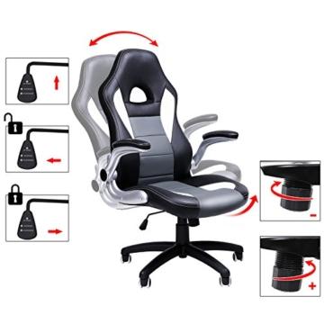 SONGMICS Gamingstuhl, Racing Chair, Schreibtischstuhl mit hoher Rückenlehne, Bürostuhl, höhenverstellbar, hochklappbare Armlehnen, Wippfunktion, für Gamer, schwarz-grau-weiß OBG28G - 2