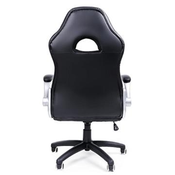 SONGMICS Gamingstuhl, Racing Chair, Schreibtischstuhl mit hoher Rückenlehne, Bürostuhl, höhenverstellbar, hochklappbare Armlehnen, Wippfunktion, für Gamer, schwarz-grau-weiß OBG28G - 3