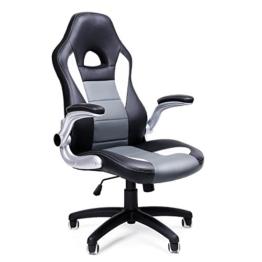 SONGMICS Gamingstuhl, Racing Chair, Schreibtischstuhl mit hoher Rückenlehne, Bürostuhl, höhenverstellbar, hochklappbare Armlehnen, Wippfunktion, für Gamer, schwarz-grau-weiß OBG28G - 1
