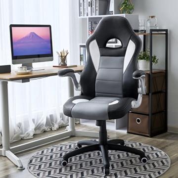 SONGMICS Gamingstuhl, Racing Chair, Schreibtischstuhl mit hoher Rückenlehne, Bürostuhl, höhenverstellbar, hochklappbare Armlehnen, Wippfunktion, für Gamer, schwarz-grau-weiß OBG28G - 5