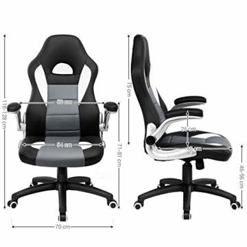SONGMICS Gamingstuhl, Racing Chair, Schreibtischstuhl mit hoher Rückenlehne, Bürostuhl, höhenverstellbar, hochklappbare Armlehnen, Wippfunktion, für Gamer, schwarz-grau-weiß OBG28G - 8