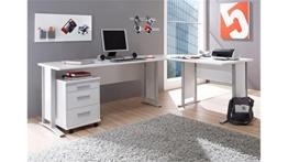 Stella Trading Office Line Eckschreibtisch, Winkelkombination inkl. Container, Holzdekor, Weiß,  (B/H/T) 220/170 x 72 x 70 cm - 1