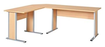 Büroeinrichtung Büromöbel Büro Buche hell Eckschreibtisch Bürocontainer Aktenschrank Regal Schreibtisch (Eckschreibtisch mit Container) - 2