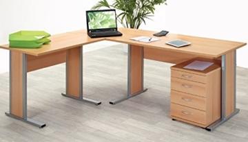 Büroeinrichtung Büromöbel Büro Buche hell Eckschreibtisch Bürocontainer Aktenschrank Regal Schreibtisch (Eckschreibtisch mit Container) - 1