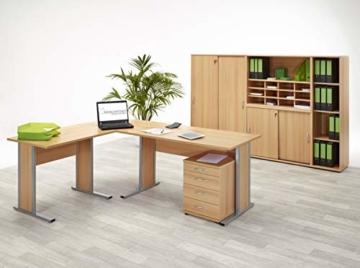 Büroeinrichtung Büromöbel Büro Buche hell Eckschreibtisch Bürocontainer Aktenschrank Regal Schreibtisch (Eckschreibtisch mit Container) - 7
