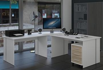 Eckschreibtisch - Vielseitig verwendbar im Home oder Büro Office - Gaming Tisch - Winkelschreibtisch - Schreibtischkombination - Schreibtisch Set 4 TLG. in weiss /sonoma-eiche - 1