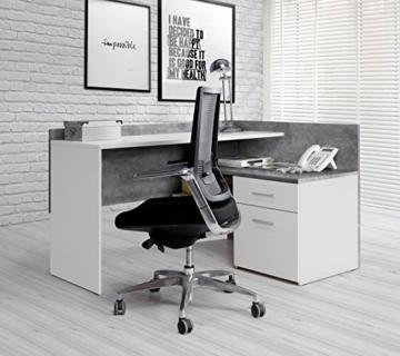 FORTE MT939-C251 Net106 Eck-Schreibtisch, 1 Türe und 1 Schubkasten, Griffe alufarbig, Holz, Betonoptik + Weiß, 111.8 x 140 x 79.5 cm - 2