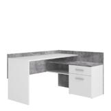 FORTE MT939-C251 Net106 Eck-Schreibtisch, 1 Türe und 1 Schubkasten, Griffe alufarbig, Holz, Betonoptik + Weiß, 111.8 x 140 x 79.5 cm - 1