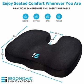 Orthopädisches Sitzkissen & Steißbein Kissen für Auto, Zuhause & Büro – ergonomisches Stuhl Sitz Polster mit hochwertigem Memory Schaum – Sitzauflage gegen Rückenschmerzen & Ischiasschmerzen - 4