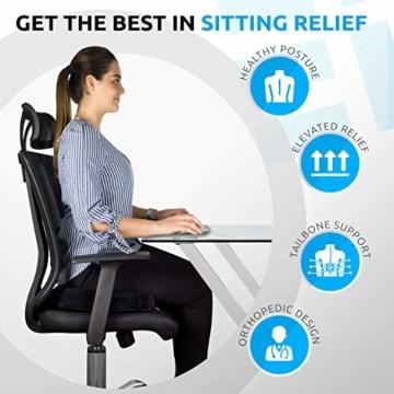 Orthopädisches Sitzkissen & Steißbein Kissen für Auto, Zuhause & Büro – ergonomisches Stuhl Sitz Polster mit hochwertigem Memory Schaum – Sitzauflage gegen Rückenschmerzen & Ischiasschmerzen - 5