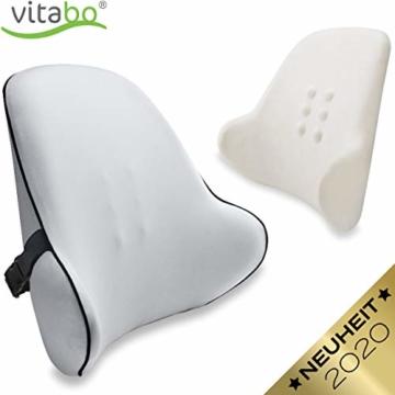 Vitabo Orthopädisches Rückenkissen - ergonomisches Lendenkissen I Lordosenstütze Rückenstütze für Büro Auto – Linderung von Rückenschmerzen (Grau) - 1