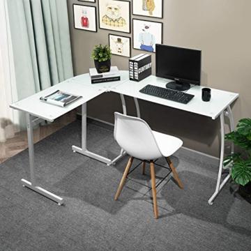 Coavas Computertisch Schreibtisch L-förmiges Weiß Glas Eckschreibtisch Lehrtisch Bürotisch Arbeitstisch Modern Laptoptisch für Lernen Arbeit Zu Hause/In Büro Weiß Mintgrün - 2
