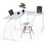 Coavas Computertisch Schreibtisch L-förmiges Weiß Glas Eckschreibtisch Lehrtisch Bürotisch Arbeitstisch Modern Laptoptisch für Lernen Arbeit Zu Hause/In Büro Weiß Mintgrün - 1