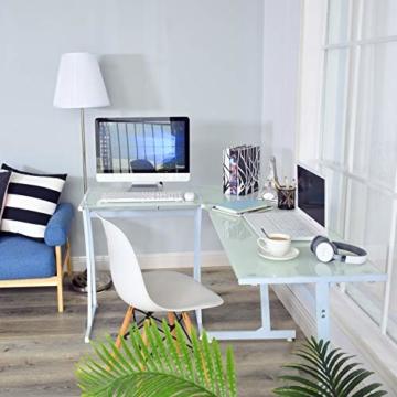 Coavas Computertisch Schreibtisch L-förmiges Weiß Glas Eckschreibtisch Lehrtisch Bürotisch Arbeitstisch Modern Laptoptisch für Lernen Arbeit Zu Hause/In Büro Weiß Mintgrün - 3