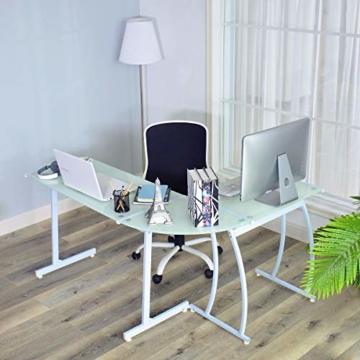 Coavas Computertisch Schreibtisch L-förmiges Weiß Glas Eckschreibtisch Lehrtisch Bürotisch Arbeitstisch Modern Laptoptisch für Lernen Arbeit Zu Hause/In Büro Weiß Mintgrün - 4