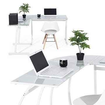 Coavas Computertisch Schreibtisch L-förmiges Weiß Glas Eckschreibtisch Lehrtisch Bürotisch Arbeitstisch Modern Laptoptisch für Lernen Arbeit Zu Hause/In Büro Weiß Mintgrün - 5