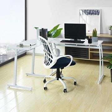 Coavas Computertisch Schreibtisch L-förmiges Weiß Glas Eckschreibtisch Lehrtisch Bürotisch Arbeitstisch Modern Laptoptisch für Lernen Arbeit Zu Hause/In Büro Weiß Mintgrün - 7