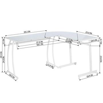 Coavas Computertisch Schreibtisch L-förmiges Weiß Glas Eckschreibtisch Lehrtisch Bürotisch Arbeitstisch Modern Laptoptisch für Lernen Arbeit Zu Hause/In Büro Weiß Mintgrün - 9