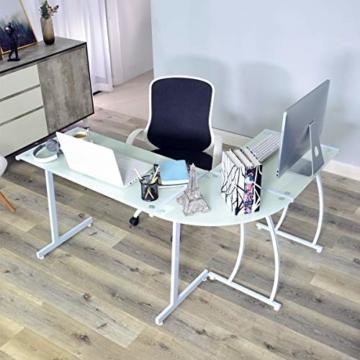 Coavas Computertisch Schreibtisch L-förmiges Weiß Glas Eckschreibtisch Lehrtisch Bürotisch Arbeitstisch Modern Laptoptisch für Lernen Arbeit Zu Hause/In Büro Weiß Mintgrün - 10